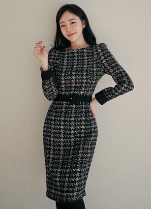 Zein Tweed One-piece dress (Belt set) <br> <B>(S ~ L) / Sponsorship product</b>