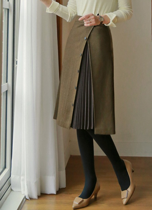 Winter Button Pleated Color Back Bending Wool Skirt <br>