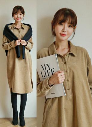 Corduroy Shirt One-piece dress <br>