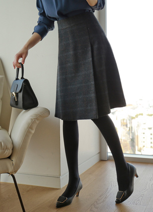Lemidi Check ALine Wool Skirt <B>(S, M, L)</b>