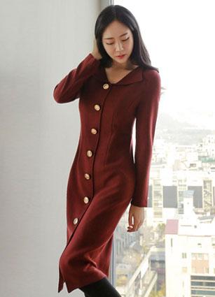 Eclat Gold Button Kara One-piece dress <B>(S, M)</b>