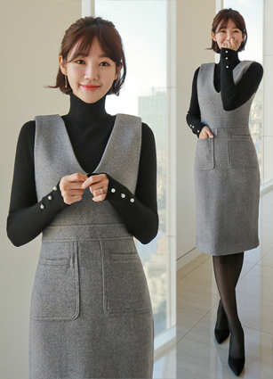 Meloang V-neck Wool Sleeveless One-piece Dress (S, M, L) <br>