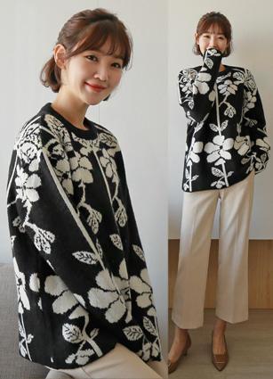 Cordel Flower Double Wool Wool Knit <br>