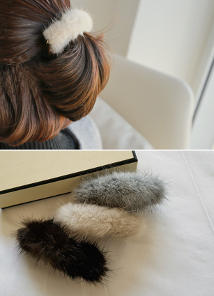 Real Minkfur hairpin <br>