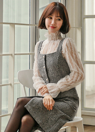 After Pearl Check Bustier Wool Dress <br>