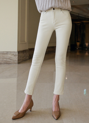 Warm Brushed Secret Bending Cream Skinny Pants (310) <br> <B>(S to XL)</b>