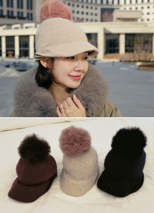 Angora fur Knit Cap Hat <br>