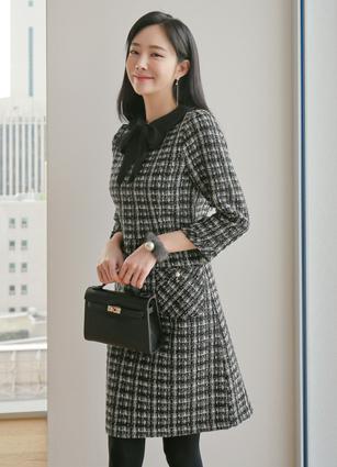Carret Pocket Tweed Wool Dress (Stringset) <br> <B>(S ~ M) / Sponsorship product</b>