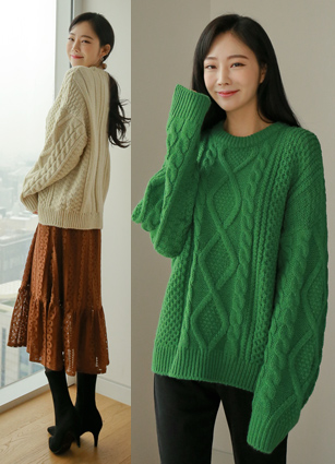 Basket cable loose fit Wool knit <br>