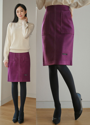 Collie Stitch handmade wool skirt (S, M, L) <br> <FONT color=#980000>◆ Remaining Quantity: Navy / L 1 piece</font> <br>