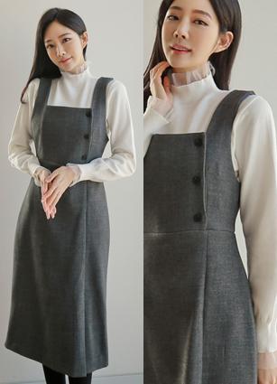 Sez Button Bustier Slit One-piece dress <br>