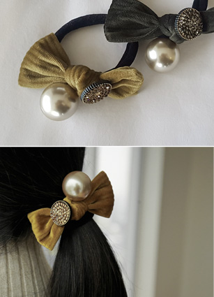 Velvet ribbon Pearl hair strap <br>