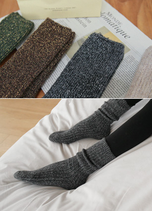Bling Pearl Knit Wool Socks <br>