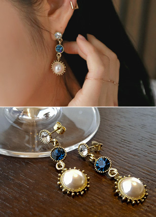 Antique stone pearl earring <br>