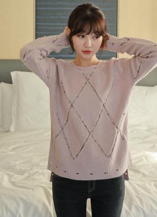 Diamonds Tweed Fringe Vintage Wool knit <br>