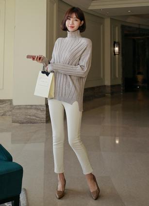 <b><FONT color=#980000>CodySET ◆ 10% discount</font></b> <br> Ready Gone Mix Turtleneck Knit + <br> Warm Brushed Secret Bending Cream Skinny Pants