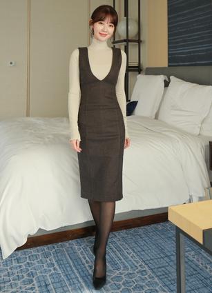royal V Check suspenders dress <B>(S, M)</b>