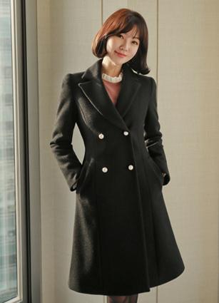 Love mi pearl button Flare wool coat <br> <B>(S ~ M)</b>