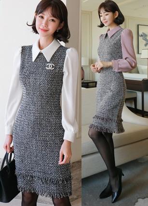 Velocar Kara Appearance Double tweed One-piece dress <B>(S, M, L)</b>