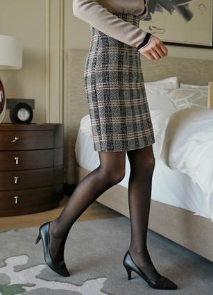 Vernie Herringbone Check Skirt <br> <B>(S ~ M)</b>