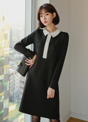 Soul Pearl Button Kara One-piece dress <B>(FREE, L)</b>