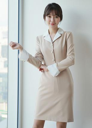 Jade Pearl Button Kara One-piece dress <B>(S, M, L)</b> <br> (Broadcast sponsorship)