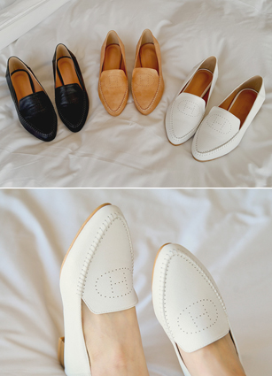 "Punching H Stitch Er Loafers <font color=""#ed1558""><b>[Heel: 2.5cm]</b> <br></font>"