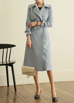 Edited Wide Buckle Trench Coat <br> (Broadcast sponsorship) <br> <FONT color=#980000>◆ Remaining Quantity: Light Blue / FREE 2 pieces</font> <br>