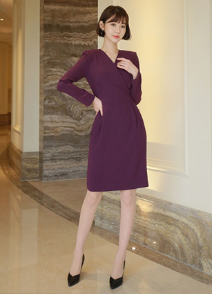 Mabe Pinteok VNeck Rap One-piece dress <br> <B>(S ~ L) / Sponsorship product</b>