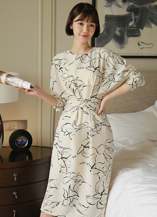 Art PRINTING Waist Twist Long Dress <br> <FONT color=#980000>◆ Remaining volume: Creambeige / FREE 1 sheet</font> <br>