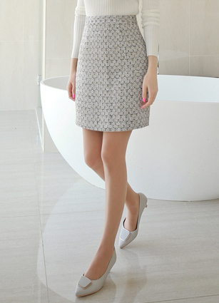 Chaner Gold Pearl Tweed Skirt <br> <B>(S ~ M)</b>