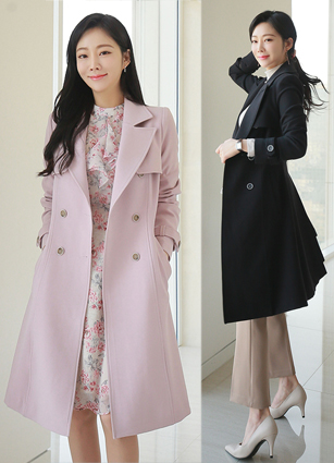 Banded Double Button ALine Trench Coat <B>(S, M, L)</b> <br> <FONT color=#980000>◆ Remaining Quantity: Lavender Pink / S 2, Dark Navy / S 1, Dark Navy / L 1, Light Beige / S 1, Light Beige / M 1</font> <br>