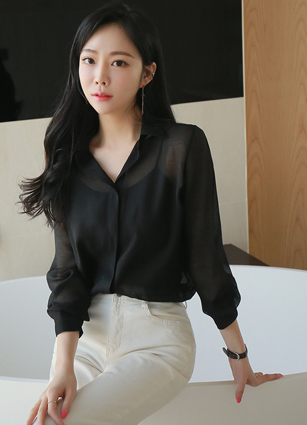 <b><FONT color=#980000>CodySET ◆ 10% discount</font></b> <br> Rodina or Bling See-through look Kara Blouse + <br> Natural Scratch Banding Slim Exhaust Pit Pants (113)
