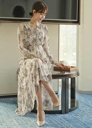 Rael Angel's Lap Flower Chiffon Long Dress <br> <FONT color=#980000>◆ Remaining Quantity: Navy / FREE 2 pieces</font> <br>