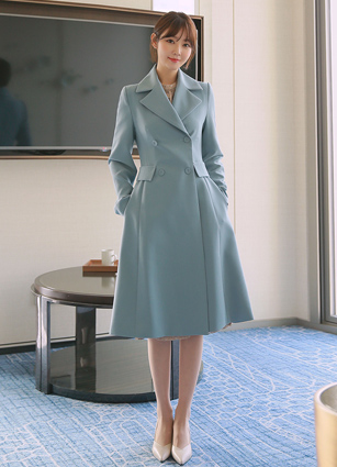 New Gibbling Double-button Flare Long Coat <B>(S, M)</b>