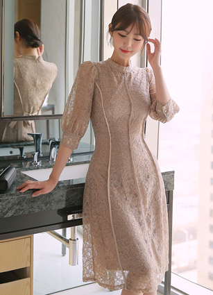 Kennedy Puff Incision Lace One-piece dress <B>(FREE, L)</b>