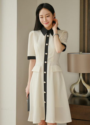 Mariang Kara Appearance Pearl Flare One-piece dress <B>(S, M, L)</b> <br> (Broadcast sponsorship) <br>