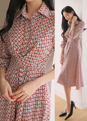 Faberet Chain Half-open Waist Twist Shirt One-piece dress <br>