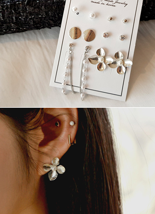 (6PieceSET) Flower Set Earring <br>