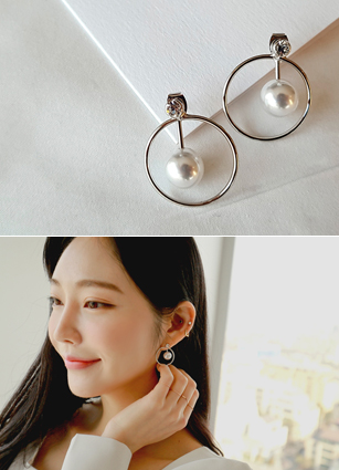 Pearl Silver Earring (Silver Post) in Circle <br>