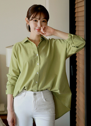 Floria back button Washingtonian loose fit shirt <br> <FONT color=#980000>◆ remaining quantity: Olive Green / FREE 1 sheet</font> <br>