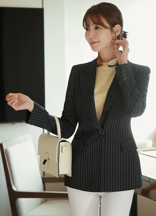 Angela Stripe One Button Jacket <B>(S, M, L)</b>
