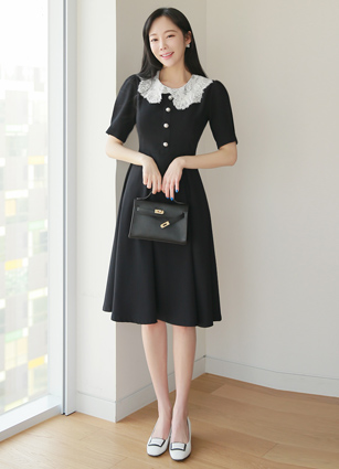 Bobbien Lace Big Collar Flare One-piece dress <B>(S, M)</b>