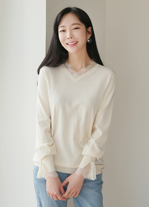 Colmar Lace Tencel VNeck Knit <br>
