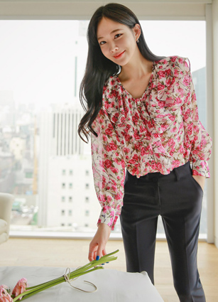<b><FONT color=#980000>[CLEARANCE 20% SALE]</font></b> ♤ Same Day Shipping ♤ <br> Elena Frill Flower Chiffon Blouse <br>