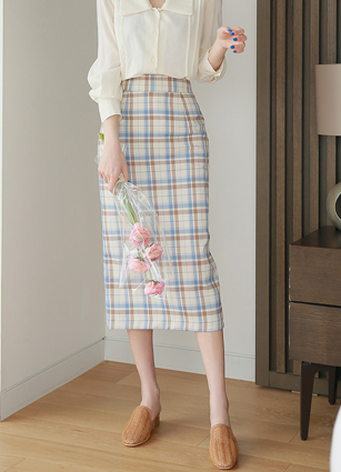 Dell Loa Check Midi Skirt <B>(S, M)</b> <br> <FONT color=#980000>◆ Remaining Quantity: Light Blue / S 2 sheets</font> <br>
