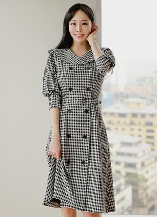 <b><FONT color=#980000>new ◆ 7% discount</font></b> until 3/29 <br> Cavalli Wide Collar Double Check One-piece dress (belt set) <br> <B>(S ~ L)</b>
