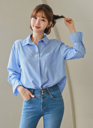 Orse Wrinkle Free Stripe Shirt <br>