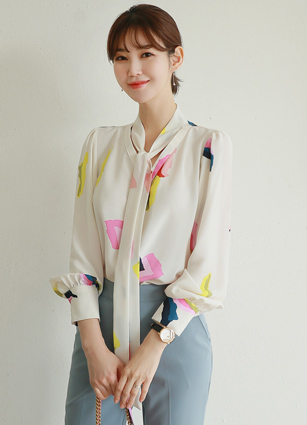 Edel Ribbon Pattern Blouse <br> (Broadcast sponsorship) <br> <FONT color=#980000>◆ Remaining Quantity: 1 Pink</font> <br>