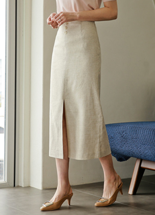 Button Slit Baguette Linen Long Skirt <B>(S, M)</b> <br> <FONT color=#980000>◆ remaining quantity: Oatmeal / M 1 sheet</font> <br>